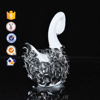 white and silver plated swan decor items famous potters handmade ceramics