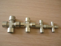 BSPT 3/8 inch cross pipe joint ,nickle plated pipe fitting