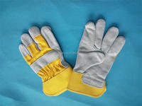SAFETY cow split working leather gloves welding gloves rubberize
