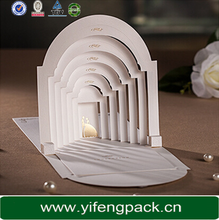 China wholesale luxury fashion e-co friendly die cut pop up wedding invitation card