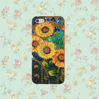 Color Painting Blossom Sun-flower PC and Wood Cell Case for IPhone 5 with press key