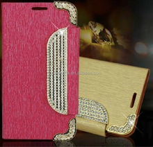 Hot Sale Silver Diamonds Glass Drill Mobile Phone Wallet Case For Samsung S5