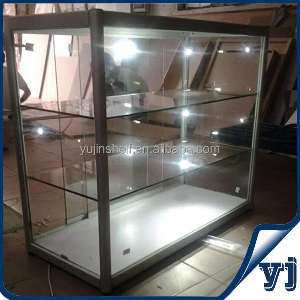Aluminio vidrio cuadrado display cse/display gabinete con luces y ...