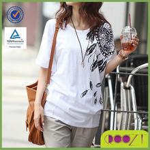 Summer casual loose women bat sleeve Tee oem printing play dry t-shirt