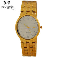 Latest fashion luxury gold plated quartz men copper wrist watch band
