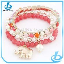 Wholesale three layer elephant charm pearl bracelet artificial plastic bead bracelet