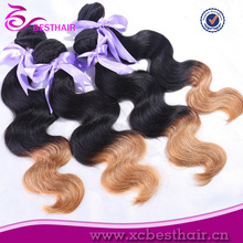 Hot Selling Tangle Free High Quality Cheap Omber Color Virgin Peruvian yaki two tone human hair weaving ponytail