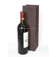 Customized wine bottle paper bag with cotton handle