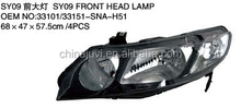 High quality best supplier in china for Honda Civic 2009 auto accessories/body parts,head lamp/light with xenon new type