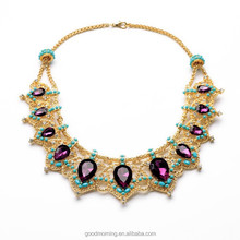 Fashion Accessories Qingdao High Quality Hot Trending Lady Teardrop Stone Collar Gold Jewelry N2375