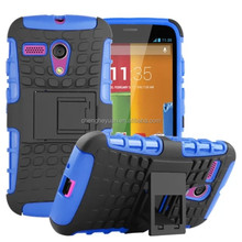 2015 new hybrid combo tpu+pc stand phone shockproof case cover for motorola moto g