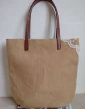 AFY-132 2013 European style ecological environmental with lovely lace jute/cotton material soft tote bag /shopping bag