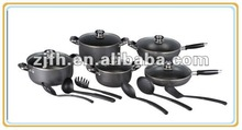 Zhejiang feihong E9seriers 16pcs aluminum kitchen cookware sets includes soup pot sauce pan and fry pan with kitchen utensils