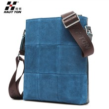 DB27 Hautton men zip lock laptop bag leather shoulder cross body tote travel bag