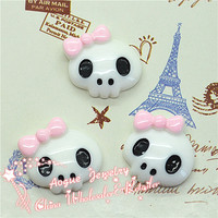 kawaii resin skull with bow for halloween Resin Cabochon18*20mm
