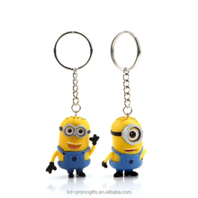 3D Despicable Me Minions Keychain/ Minions Despicable Me Led Light Keychain/ Soft Pvc Keychain