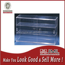 Best selling clear acrylic portable locked jewelry display showcase with 3 shelfs