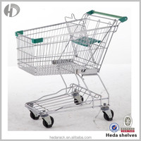 Multi-function metal supermarket wheeled shopping trolley for food