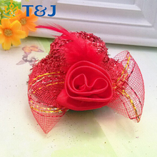 Kids Fashion Accessories Girls Party Hairpin Ribbon Flower Feather Net Mini Hat Hair Clip/