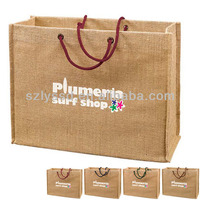 Colorful printing reusable large jute tote bag
