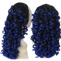 Synthetic Blue Hair Wholesale Cheap Price Half Wigs Long Wavy Hair for Black Woman Heat Resistant Fiber 3/4 Full Wig Ombre Color