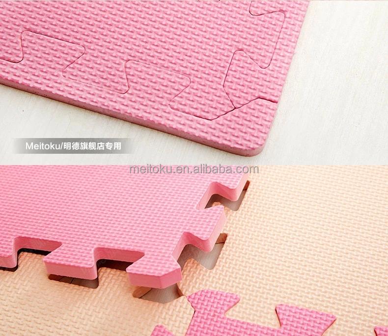 Eva Mousse Combinaison Rose Et Beige Color Antid Rapant Vert Et Safe Textur Enfants Tapis De
