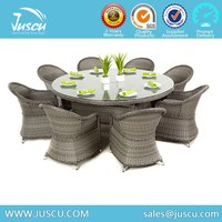 Round Rattan 8 Seater Dining Table with Wick chairs Rattan Furniture Manufacturers Sale