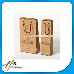 High Quality Brown Kraft Paper Wine Bags with Cotton Handle