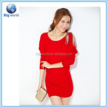 summer dress 2015 lady Nine points sleeve knitted shaker ladies hand knitted sweater chenille sweater