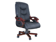 Executive racing leather office chair with wooden armrest