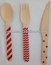 Polka dot, chevron, stripe wooden utensils,crafting spoons forks knives weddings parties banquets disposable wooden cutlery
