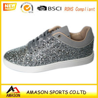 2016 New casual shoes for women shiny materials women causal shoes Chinese sneaker factory