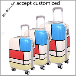 bulk eminent pc material 4 wheel bright color travel luggage