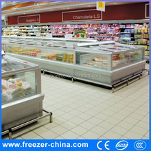 Supermarket top open island freezer commercial freezer and refrigerator display freezer ice cubes
