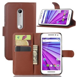 Wholesale Wallet Cell Phone Leather Flip Cover for Moto G3 , Litchi Pattern Flip Cover for MOTO G 2015 XT1541 XT1542