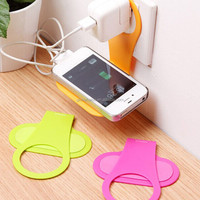 Universal mobile phone wall hanging holder for charging use, plastic mobile phone holder