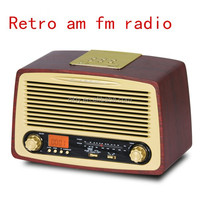 Home AM/FM wooden radio with digital clock and alarm timer