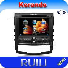 2 din 7 inch touch screen car audio dvd with GPS navigation system for ssangyong korando