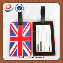 factory direct supplier national flag shape luggage tag custom england flag luggage tag
