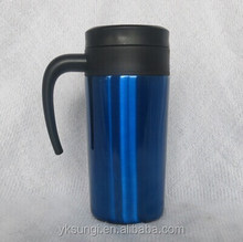 Hot stainless steel travel mug with handle