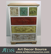Colored shabby chic wood carved cabinet