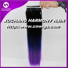 WHOLESALE dip dye ombre color synthetic hair weft/kanekalon synthetic hair weft/synthetic curly hair weave