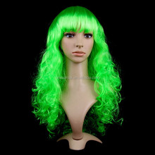 Hot sale cheap long green party wigs