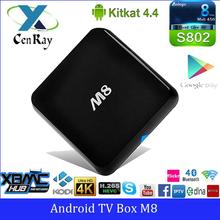 Original M8 Android4.4 kitkat Google Smart TV Box Amlogic S802 Quad Core 4k EM8
