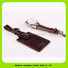 Custom PU Genuine leather travel airplane luggage tag wholesale 15014
