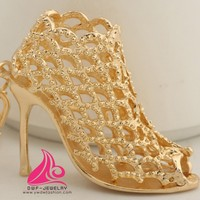 Vintage Gold Plated Hollow High heel Shoe Key Chain