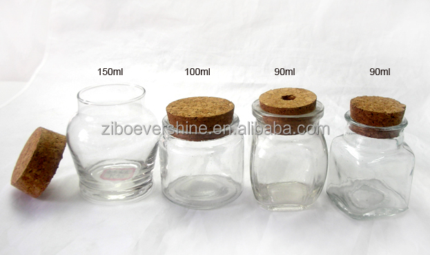 Small decorative glass jar with cork lid buy glass jar for Small colored glass jars