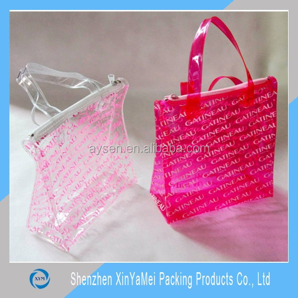 Custom printed shopping bag clear pvc bags large pvc tote bags