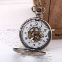 2012 Skeleton Mechanical Pocket Watch Necklace Chain
