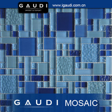 clear blue crystal glass mosaic pool tile